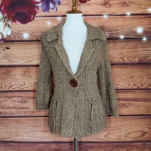 Anthro's One Girl Who Brown Knit Cardigan